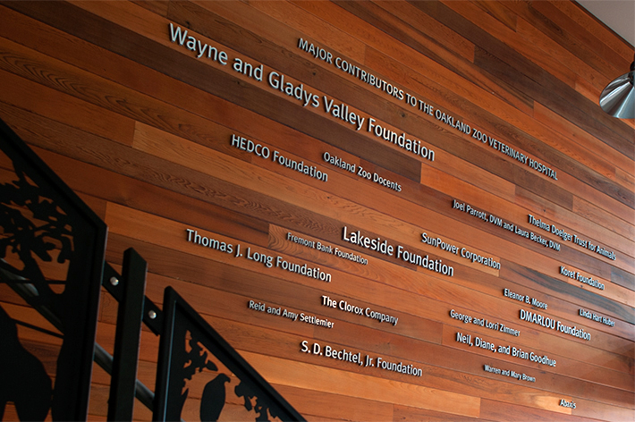 Oakland Zoo Veterinary Hospital Donor Wall